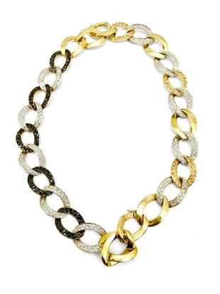 18K Gold Diamonds Cuban Link Necklace Bracelet