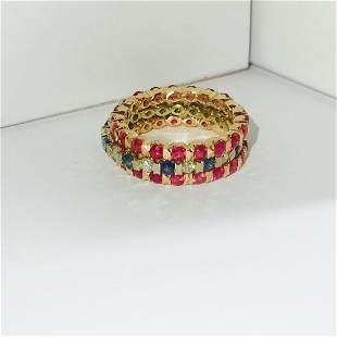 14K Gold. Ruby, Blue Sapphire and Diamond Bands