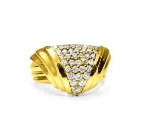 Art Deco 1.10 Carat Diamond Yellow Gold Ring