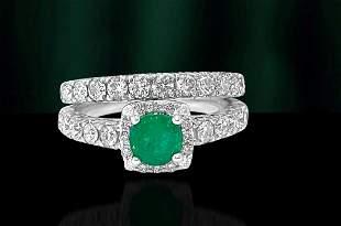 Ladies 1.20ct Diamond Emerald Double Wedding Band.