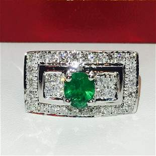 2.75 Carat Diamond & Emerald in Platinum Ring