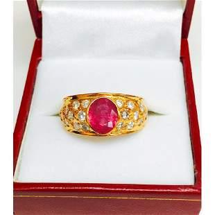 "18k Yellow Gold, ""No Heat Ruby"" and Diamond Ring"