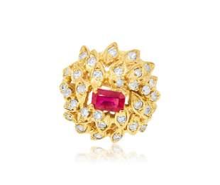 Vintage 2.00 ct Diamond Ruby 18K Yellow Gold Ring