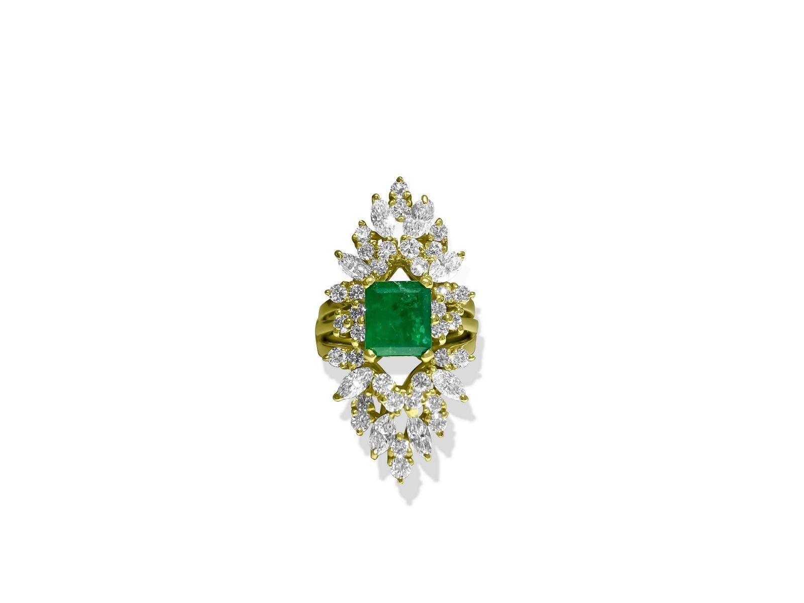 14K Yellow Gold, 4.25 CT Diamond & Emerald Insert Ring