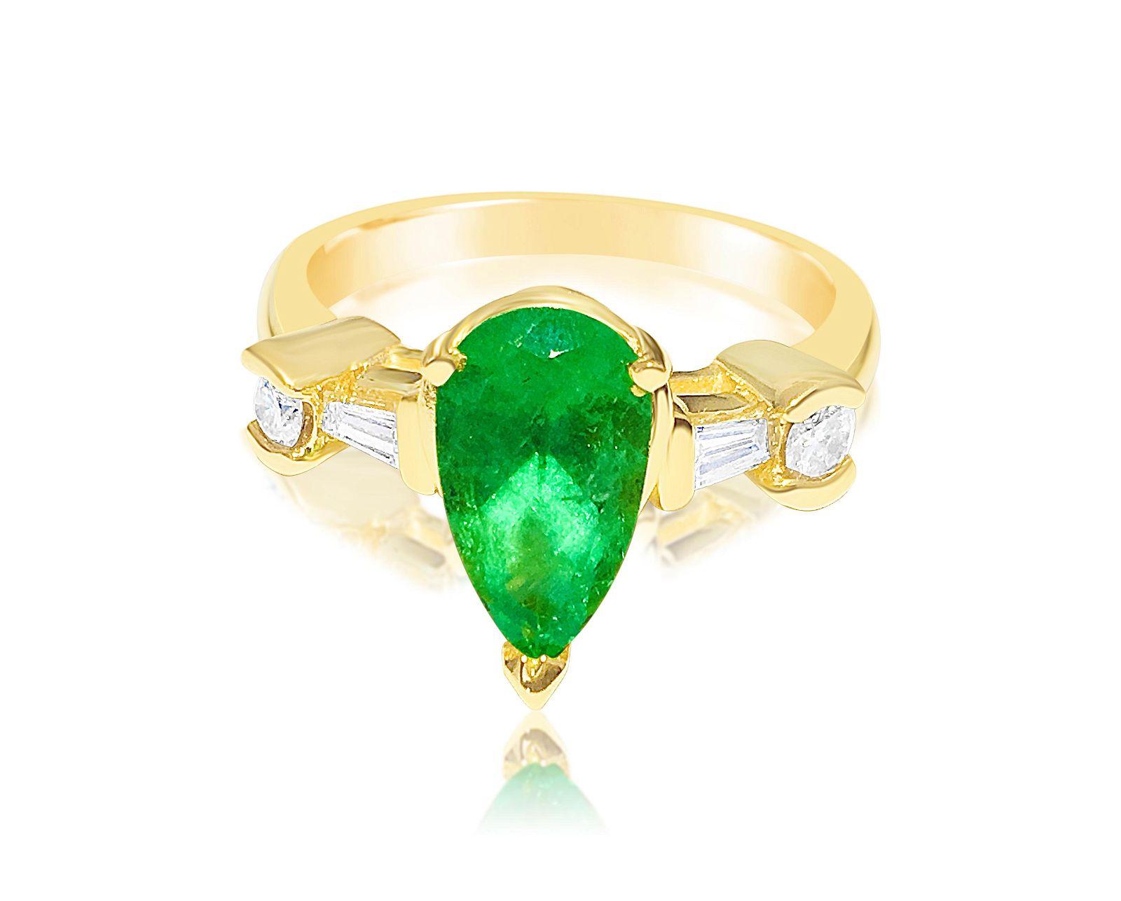 Womens 14K Yellow Gold, 2.30CT Diamond & Emerald Ring