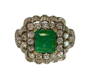 Vintage 18K White Gold, 5.05ct Diamond & Emerald Ring