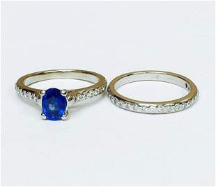 14K, 100% Natural Blue Sapphire and Diamond Ring