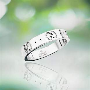 18K White Gold Gucci Icon Band. Made In Italy