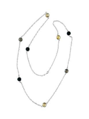 14k white gold. 20 CT Multi Gemstone Long Necklace.
