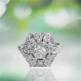 Art Deco 2.00 Carat Diamond Gold Ring