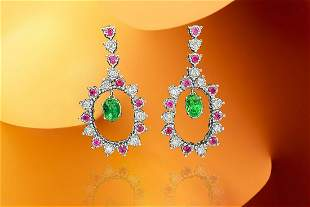 Cocktail Emerald Diamond Ruby Dangle Earrings