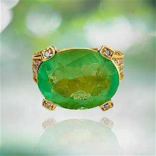Vintage 11.50ct Colombian Emerald Diamond Ring in 14K