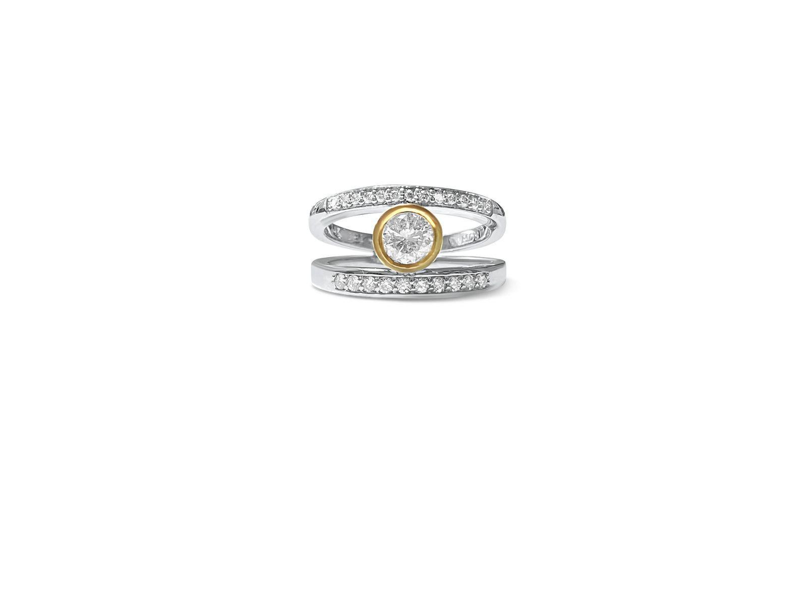 Vintage 14K two tone, 0.76ct Diamond Engagement Ring