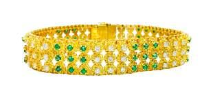18k Gold Natural Colombian Emerald Diamond Bracelet