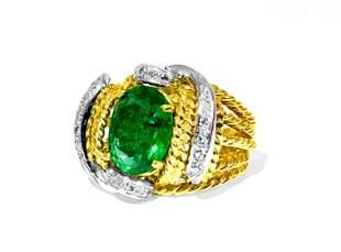 Natural 3.86 Carat Emerald Diamond Ring 18K Gold
