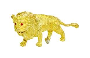 18K Yellow Gold Platinum LION Diamond Ruby Pin