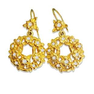 Stephen Dweck 18K Yellow Gold Diamond Dangle Earrings