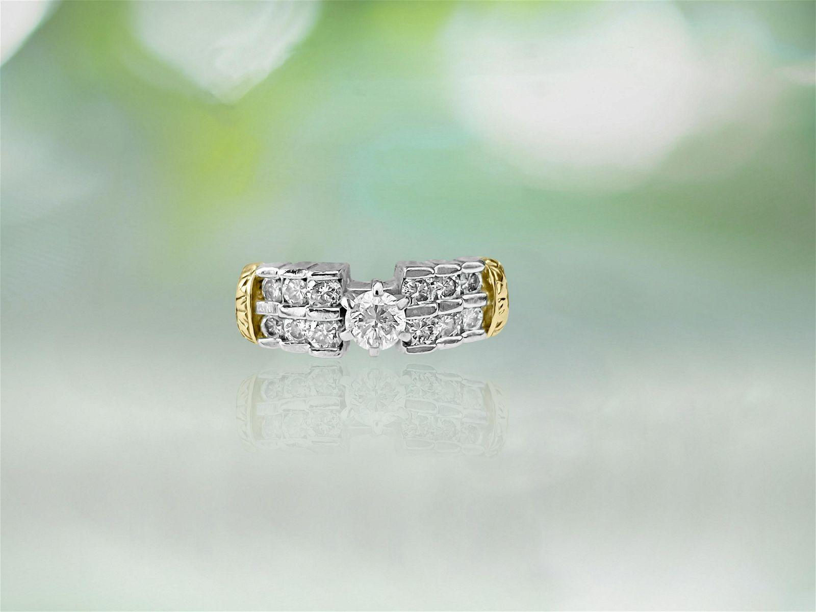 Vintage 14K Two Tone, Diamond Engagement Ring