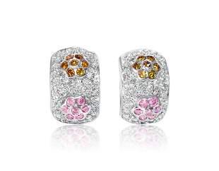2.0 CT white, pink & yellow diamonds in 14k earrings