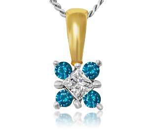 0.60 carat diamond & Blue Diamond in 14k gold pendant.