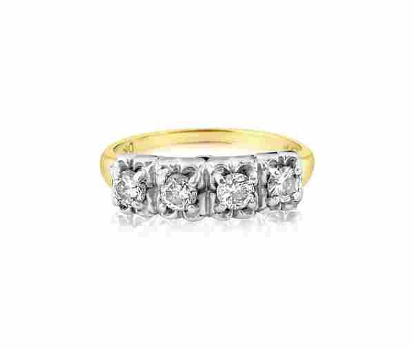 Vintage, Two Tone 0.48 CT Diamond & Gold Ring