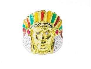 American Indian. 18k, 0.85 carat Diamond & Ruby Ring