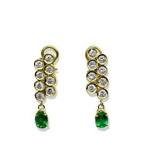 Womens 3.50ct Diamond & Emerald Dangle Earrings