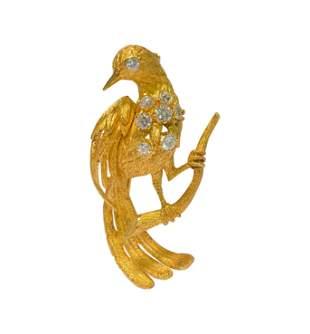 18K Yellow Gold VVS Diamond Vintage Bird Pin