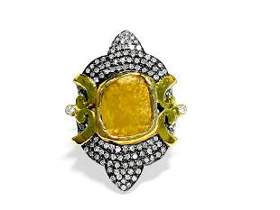 14K yellow and black gold, 3.25CT Antquie Diamond Ring