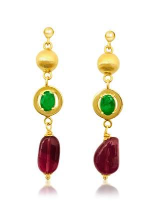 Womens Vintage Emerald, Tourmaline & 14K Gold Earrings