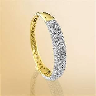Ladies Vintage 6.00 Carat Diamonds Yellow Gold Bracelet