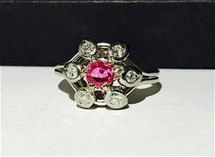 Vintage 14K Gold, 1.50ct Pink Sapphire & Diamond Ring