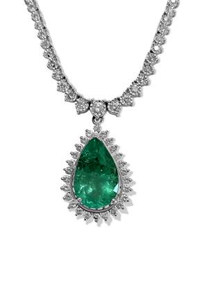 Certified 12.00ct Colombian Emerald Diamond Necklace