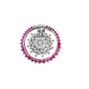14K White Gold, Ruby & Diamond Pin AND Pendant