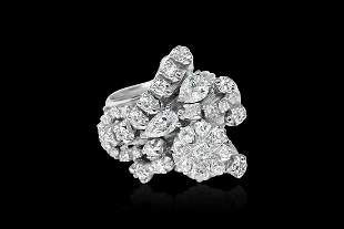 3.00 Carat Diamond Cluster Ring in 18K White Gold