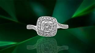 Art Deco 14K Diamond White Gold Engagement Ring