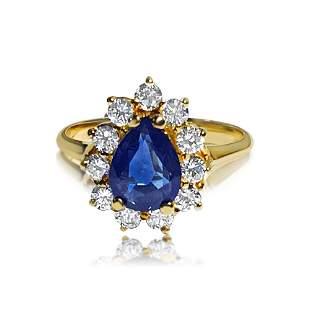 18K Gold, 1.50 Carat Blue Sapphire and Diamond Ring