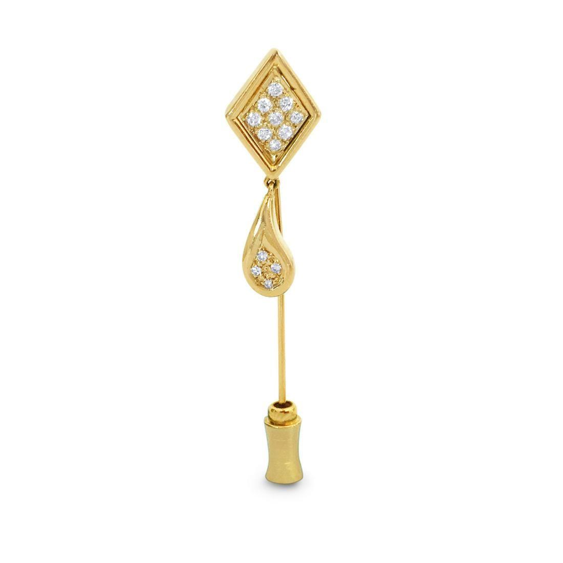 Womens, Vintage 14K Yellow Gold & Diamond Pin,
