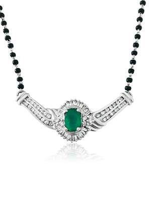 Indian Mangalsutra. 14k, Emerald & Diamond Necklace