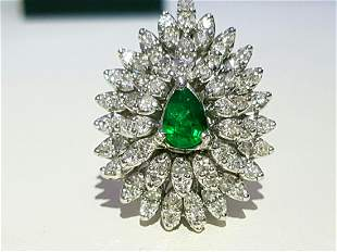 4.50 Ct Diamond & Colombian Emerald Ring in 14K Gold