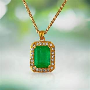 19.00ct Emerald And Diamond Pendant Necklace.