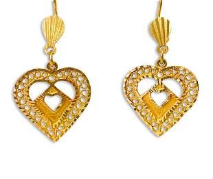 22K Yellow Gold, Arabian Heart Earrings For Her