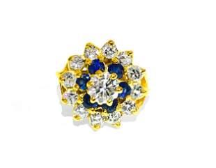 18K Gold. 2.12 Carat Diamond and Blue Sapphire Ring