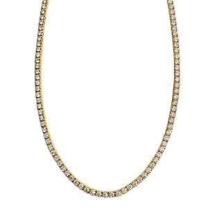 15.00 Carat VVS Diamond Tennis Necklace in 14k Gold