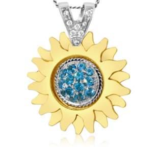 Sidra, 18K Gold, Diamond & Blue Topaz Pendant