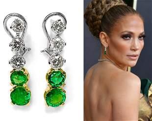 Harry Winston Style, Emerald & VVS Diamond Earrings