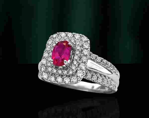 14k White Gold. Ruby & Diamond Ring For Her.