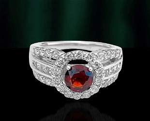 Vintage, 0.85ct Garnet & Diamond Garnet Ring.