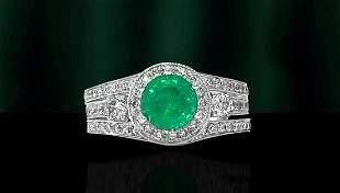Art Deco, Emerald & Diamond Ring in 14k White Gold.
