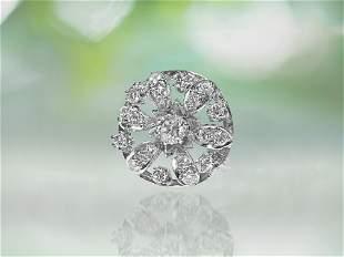 Antique, 1.75ct Diamond & Platinum Womens Pin.
